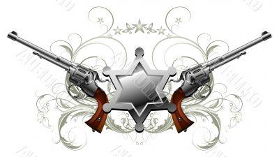 sheriff star with guns