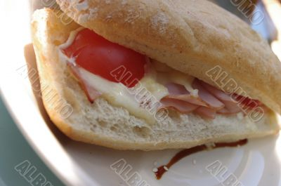 Ciabatta bread sandwich with meat and cheese