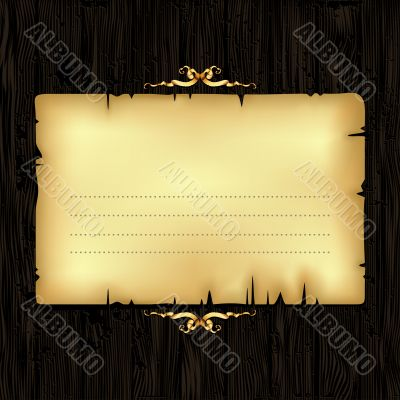 paper with wood and ornate frame