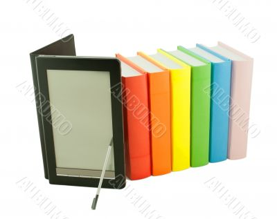 Row of colorful books and electronic book reader