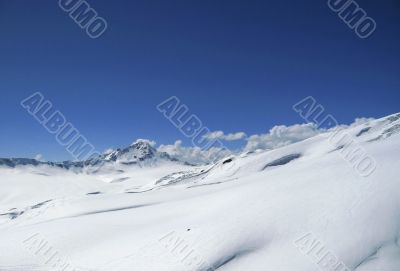 Mountain under the blue clear sky