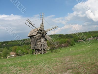 summer rural landscape with mill