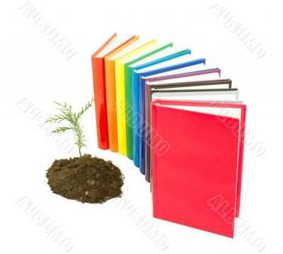 Seedling grown from the soil with row of books