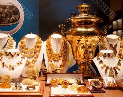 Russian gold samovar in show-window