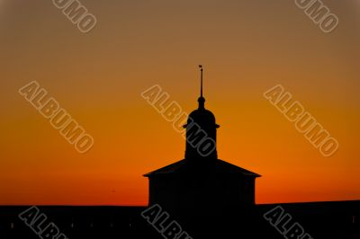 Sunset silhoettes in russian monastery