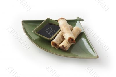 Crispy chinese roll with  dressing