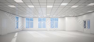 3D big empty white office