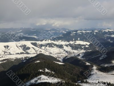 Panorama of winter Carpathians Mountains