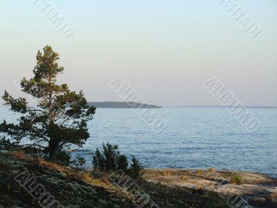 Evening on Ladoga lake