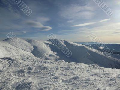 On a winter ridge of Carpathians Mountains