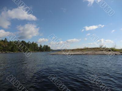 Islands in a gulf of Ladoga lake