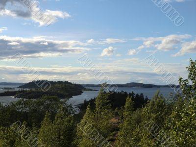 Ridge of islands on Ladoga lake