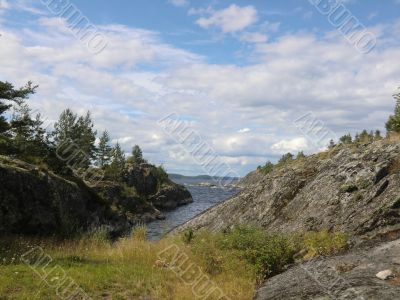 Bay on one of islands of Ladoga lake