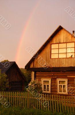 Rainbow Over Russian Village