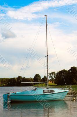 Blue sailing vessel.