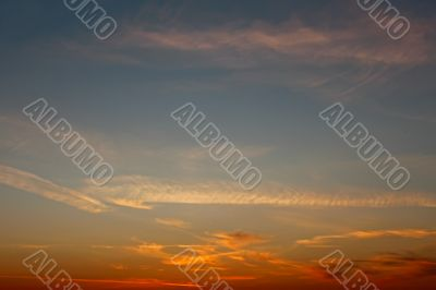 Multicolour skyscape after sunset