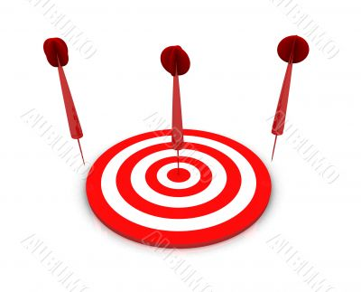 blue darts on red target