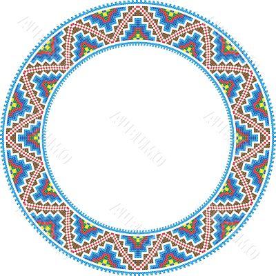 vector folk round Frame Cross-stitch