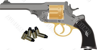 Drum Gun On A White Background With Bullets