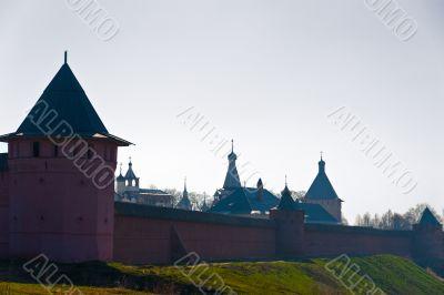 Morning fog in russian ancient Kremlin