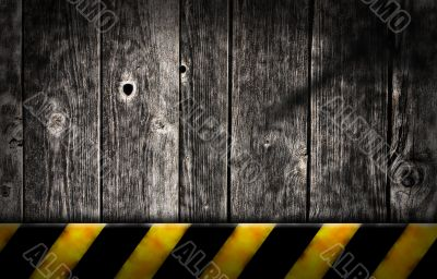 planks with warning stripes
