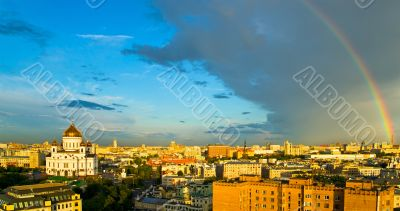 Rainbow over Moscow skyline