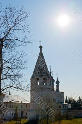 Ancient belltower in russian historical town
