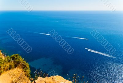 Boats in the Mediterranean sea View from high rock