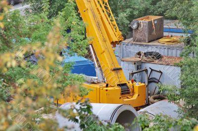 part of a crane at a construction site