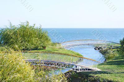 Pedestrian bridges across the river