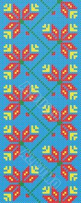 Ukrainian embroidery flowers on blue