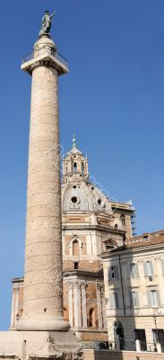 Traian column and church in Rome, Italy