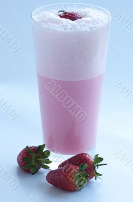 Strawberry Milkshake with fresh strawberries