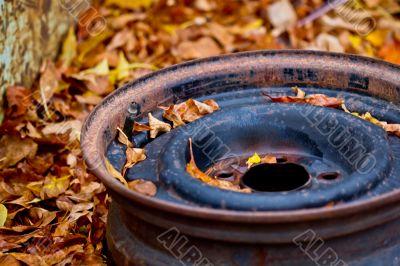 Rusty tire rim