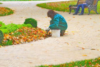 girl gardener at work