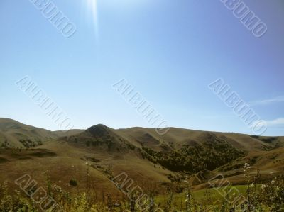 Caucasus landscape and autumn nature