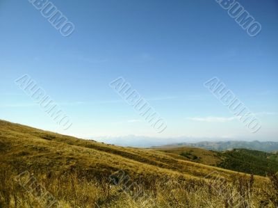 Caucasus landscape and autumn nature in daylight