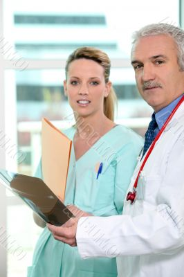 Doctor and nurse discussing an xray