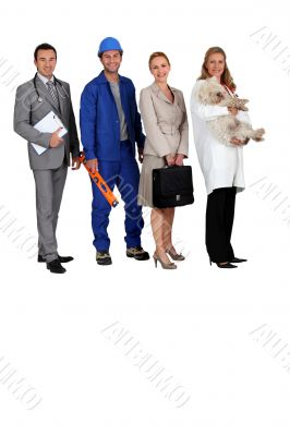 A doctor, a workman, an office woman and a vet