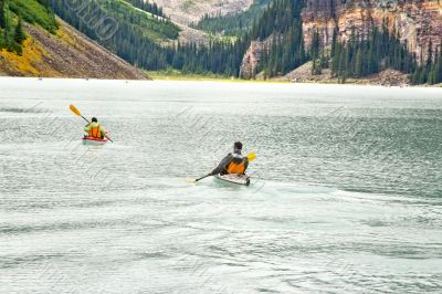 Canoeing on the magnificent Lake Louis