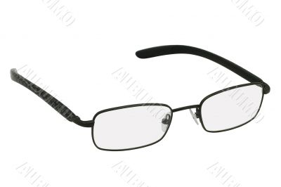 Glasses in black rim.