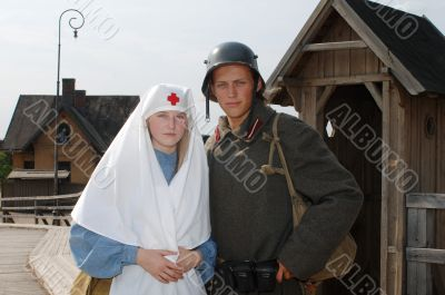 Retro styled picture with nurse and soldier