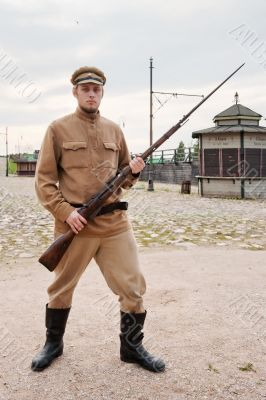 Soldier with  gun in retro style picture