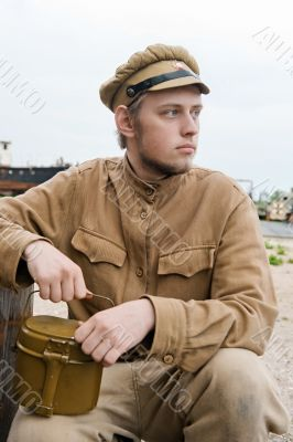 Soldier with boiler in retro style picture