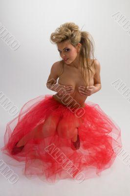 Sexy girl in diaphanous skirt