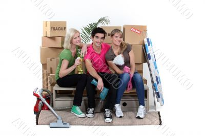 Three house-mates moving