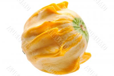 Yellow pumpkin isolated on white background.