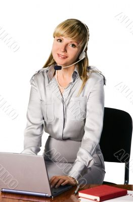 beautiful girl in headset