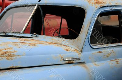Close-up Rusty Car Without Windows