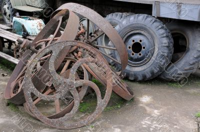 Old Truck and Cart Wheels